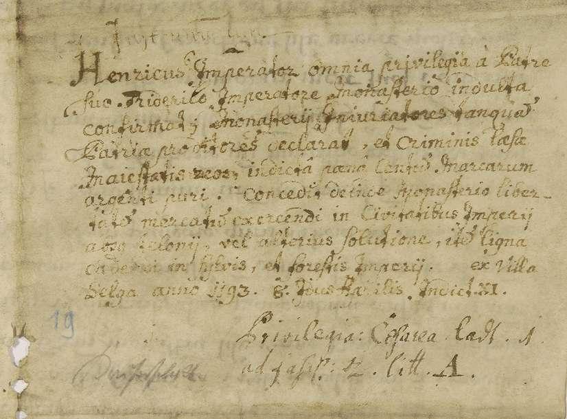 Kaiser Heinrich VI. bestätigt und erneuert dem Prämonstratenserkloster Obermarchtal alle von seinem Vater Friedrich verliehenen Begünstigungen., Bild 2