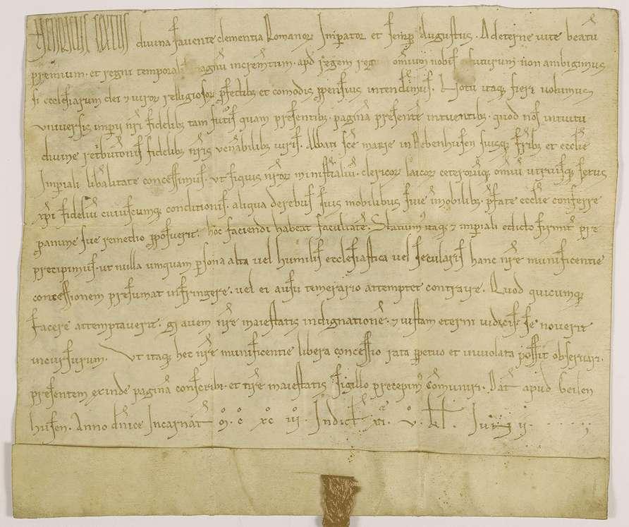 Kaiser Heinrich VI. erlaubt seinen Dienstleuten, von ihrem beweglichen und unbeweglichen Gut an das Kloster Bebenhausen um ihrer Seelen Heil willen zu schenken., Bild 1