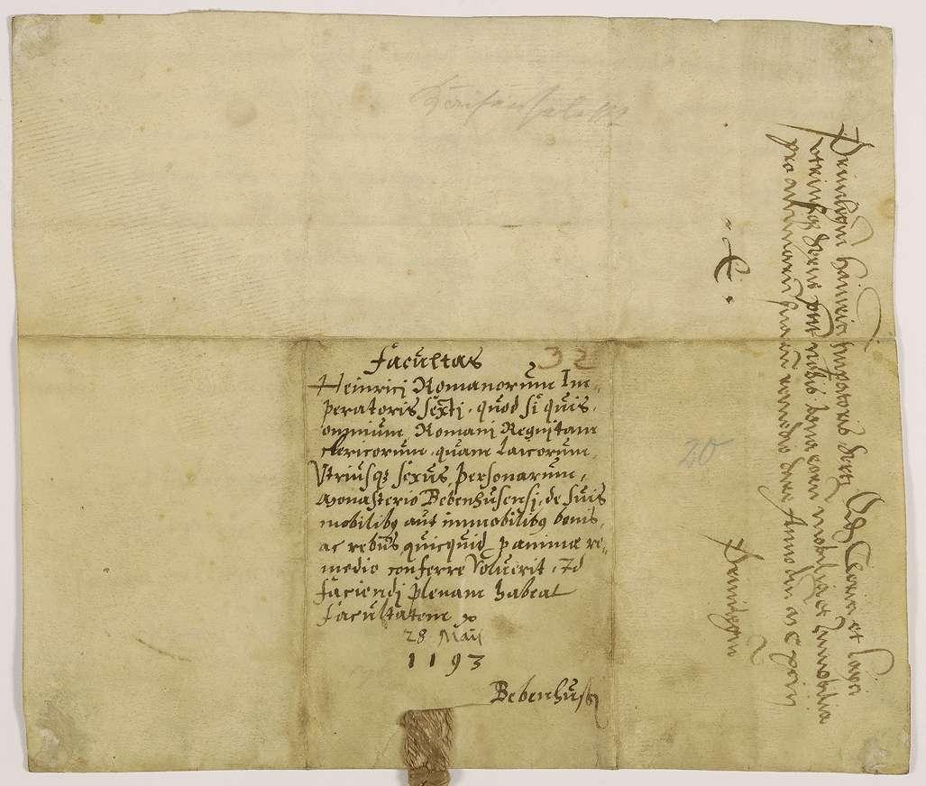 Kaiser Heinrich VI. erlaubt seinen Dienstleuten, von ihrem beweglichen und unbeweglichen Gut an das Kloster Bebenhausen um ihrer Seelen Heil willen zu schenken., Bild 2
