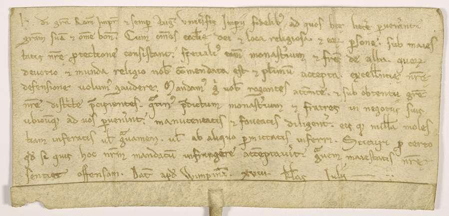 Kaiser Heinrich VI. gebietet allen Getreuen des Reiches, das Kloster Herrenalb in seinen Geschäften, wo solche an sie gelangen würden, zu fördern und dasselbe weder selbst zu beschweren, noch von anderen beschweren zu lassen., Bild 1
