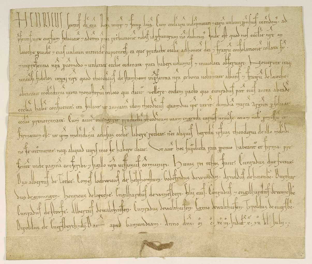 Kaiser Heinrich VI. bestätigt die Verleihung einer Mühle des Klosters Lorch an Dietrich von Stammheim gegen einen jährlichen Zins auf dessen Lebenszeit., Bild 1
