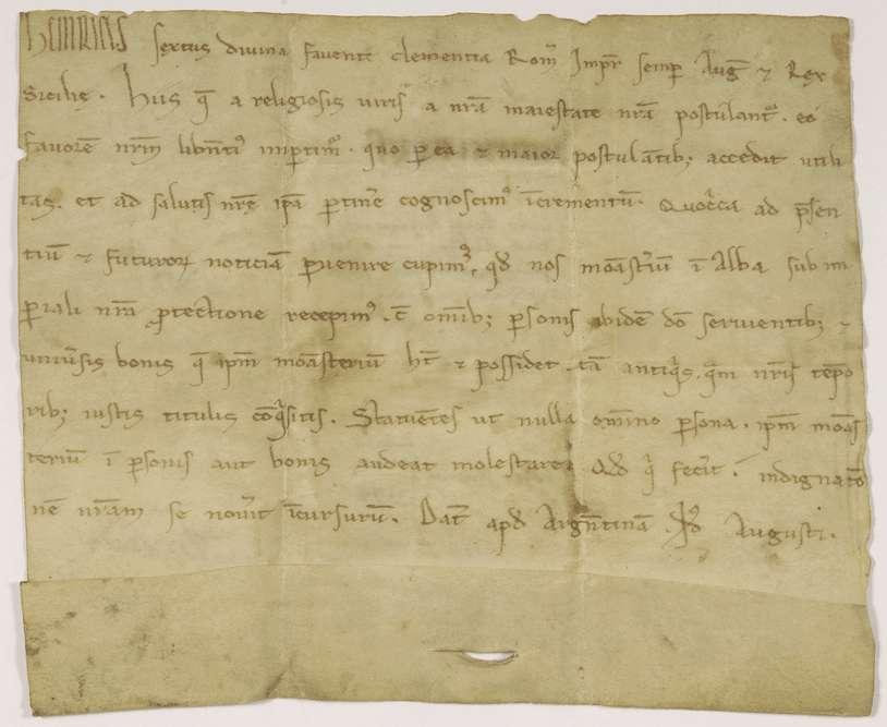 Kaiser Heinrich VI. nimmt das Kloster Herrenalb mit allen dessen Angehörigen und rechtmäßigen Besitzungen in seinen Schutz., Bild 1
