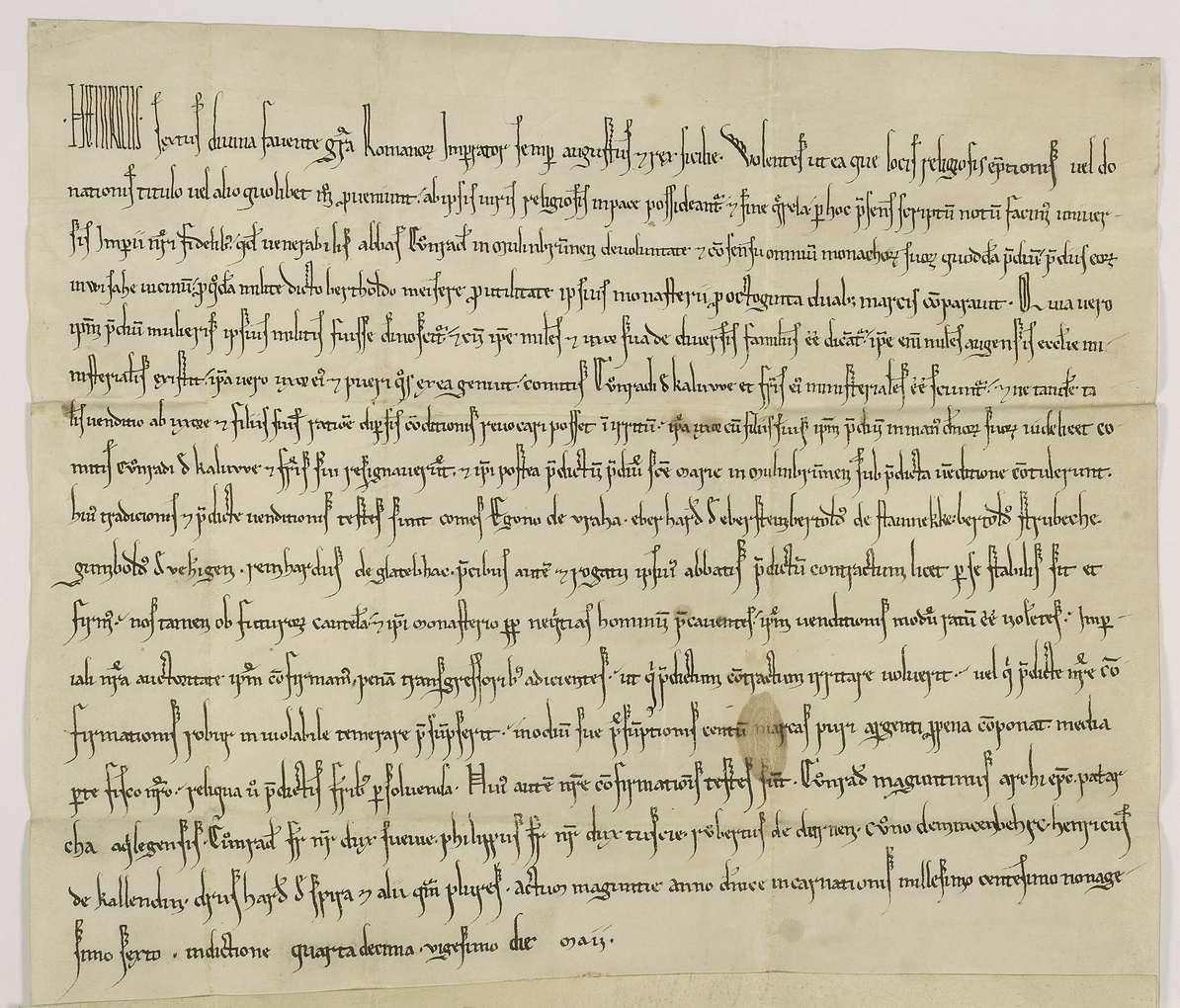 Kaiser Heinrich VI. bestätigt den Kauf, wodurch der reichenauische Dienstmann, Ritter Berthold Maisere, dem Kloster Maulbronn ein Gut bei Weissach überträgt., Bild 1