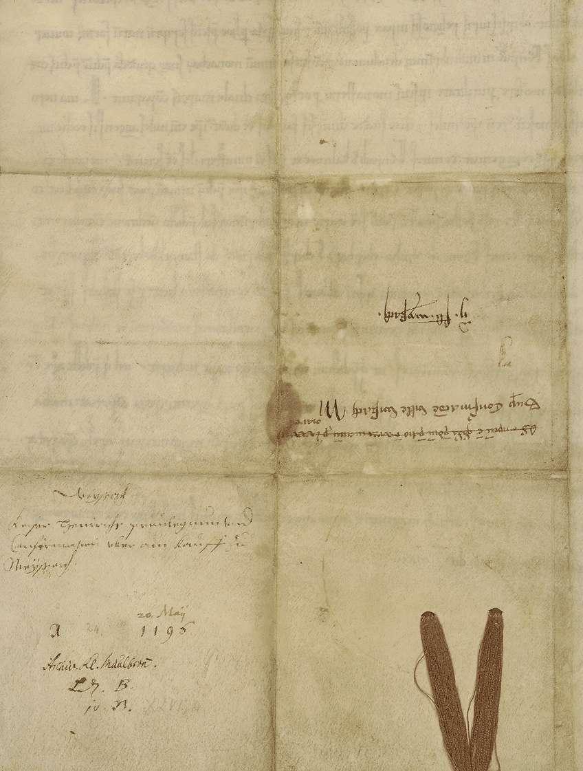 Kaiser Heinrich VI. bestätigt den Kauf, wodurch der reichenauische Dienstmann, Ritter Berthold Maisere, dem Kloster Maulbronn ein Gut bei Weissach überträgt., Bild 2