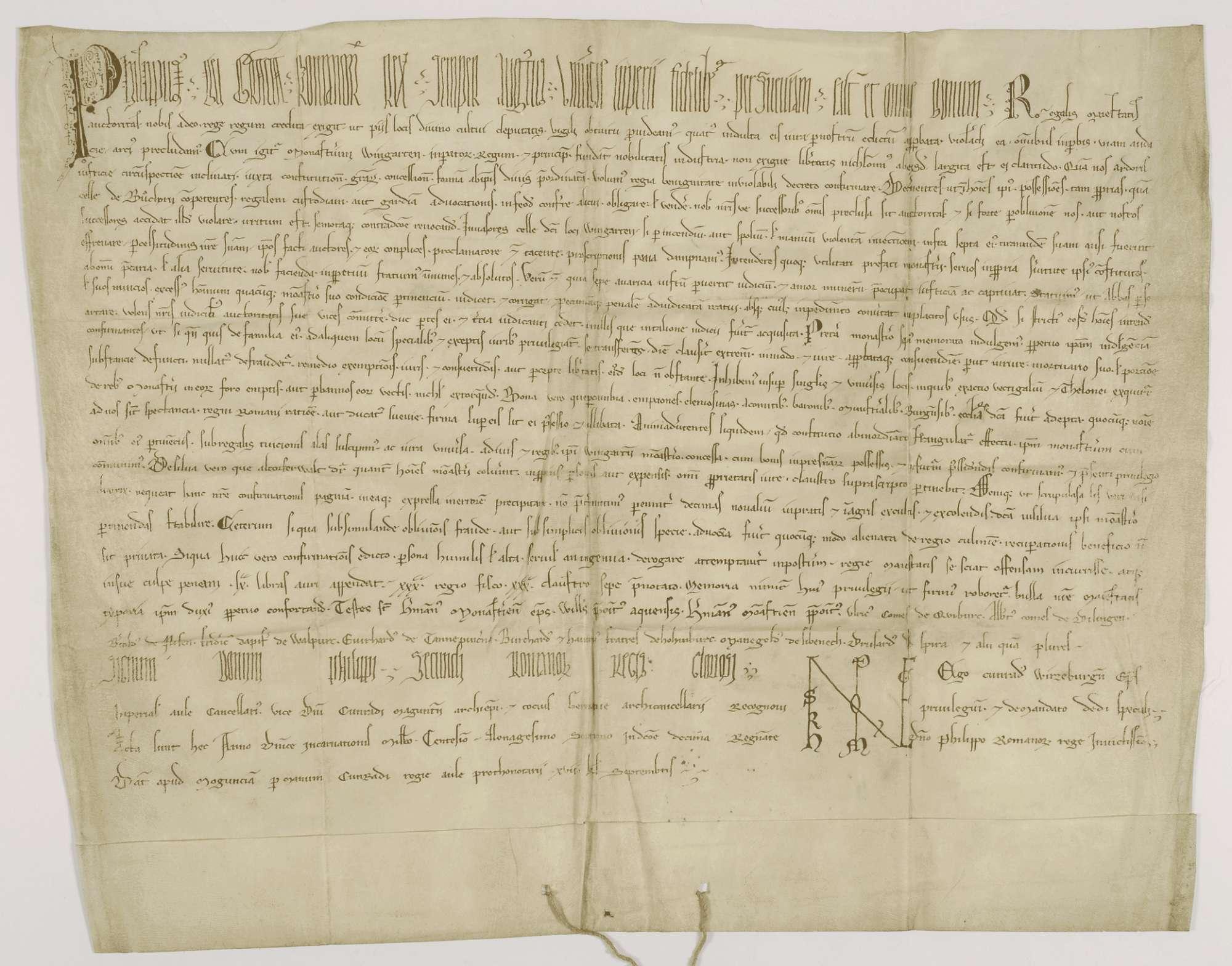 König Philipp bestätigt dem Kloster Weingarten die von seinen Vorgängern erteilten Begünstigungen., Bild 1