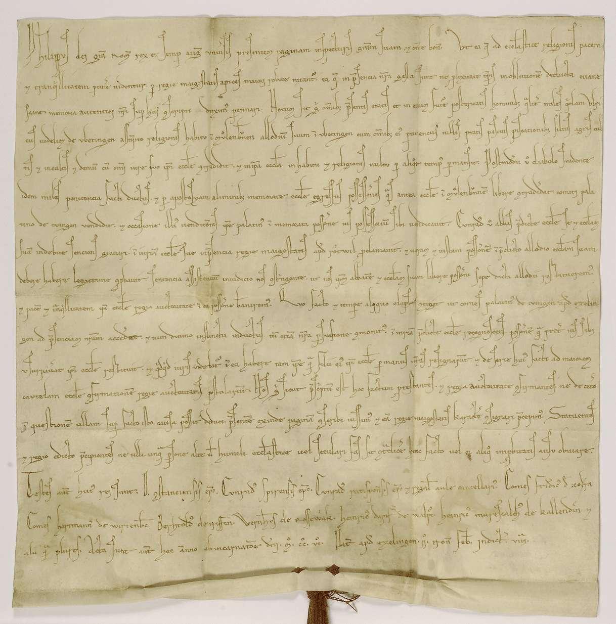 König Philipp bestätigt die Zurückgabe des von Ulrich von Iptingen zuerst dem Kloster Maulbronn geschenkten, später aber dem Pfalzgrafen von Tübingen verkauften Eigenguts in Iptingen durch den letzteren an das Kloster., Bild 1