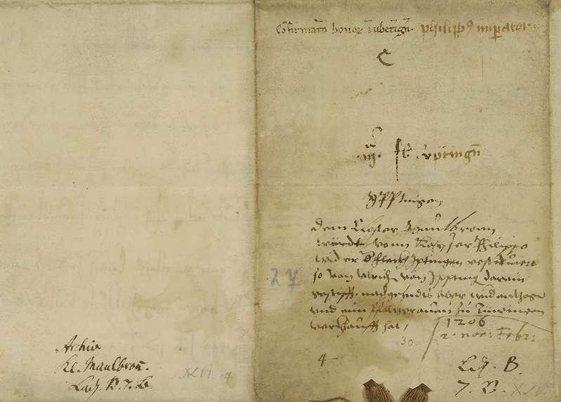 König Philipp bestätigt die Zurückgabe des von Ulrich von Iptingen zuerst dem Kloster Maulbronn geschenkten, später aber dem Pfalzgrafen von Tübingen verkauften Eigenguts in Iptingen durch den letzteren an das Kloster., Bild 2