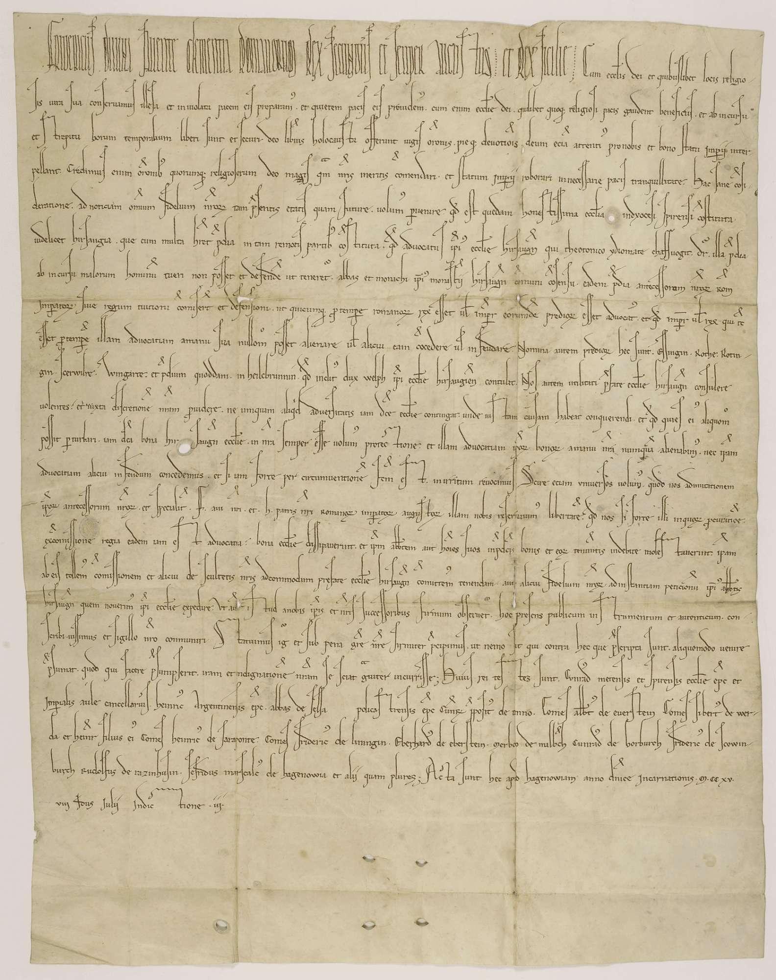 König Friedrich II. übernimmt die Vogtei des Klosters Hirsau an mehreren in der Urkunde genannten Orten., Bild 1