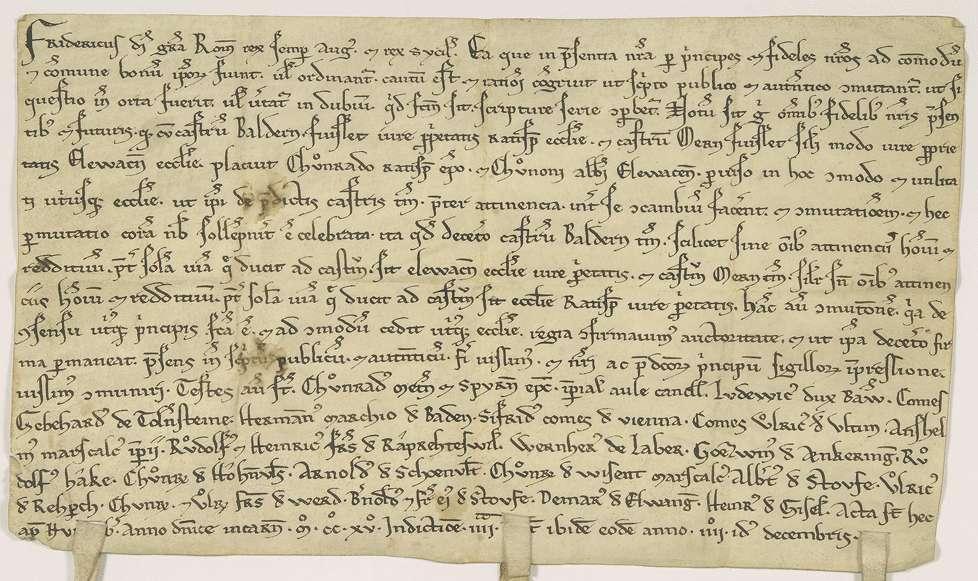 König Friedrich (II.) bestätigt den zwischen Bischof Konrad von Regensburg und Abt Kuno von Ellwangen geschlossenen Tausch ihrer Burgen Baldern und Möhren., Bild 1