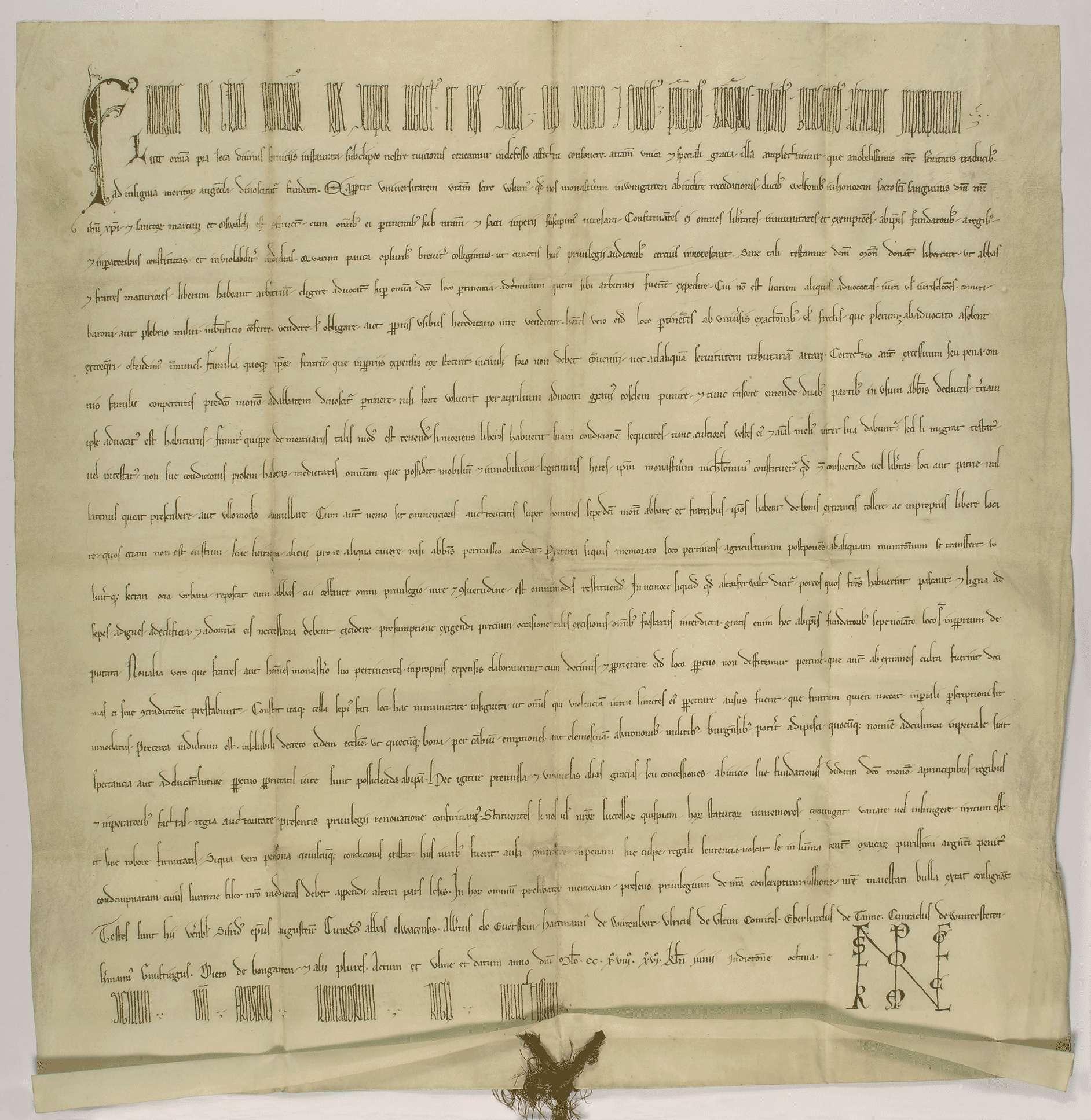 König Friedrich (II.) nimmt das Kloster Weingarten in seinen und des Reiches Schutz und bestätigt und gewährt demselben eine Reihe namentlich aufgezählter Rechte und Freiheiten., Bild 1
