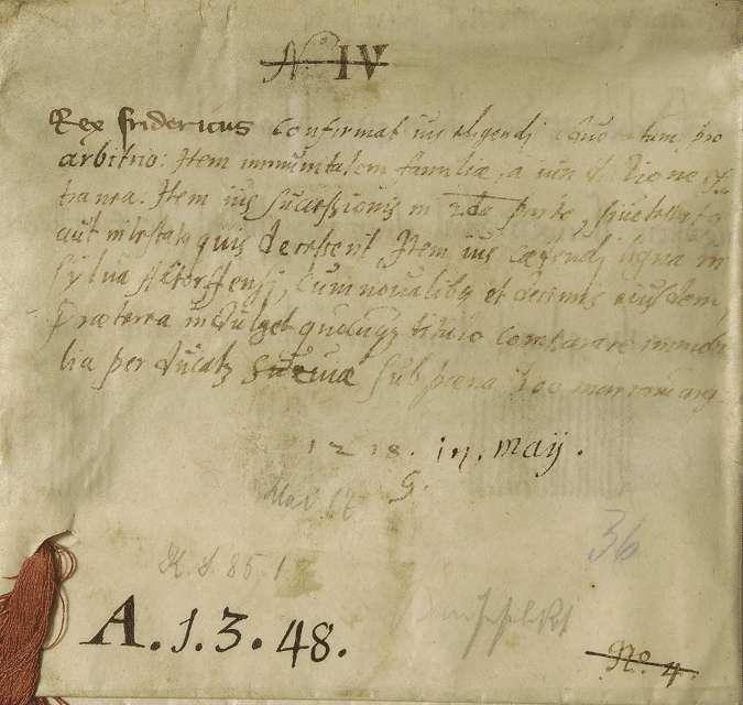 König Friedrich (II.) nimmt das Kloster Weingarten in seinen und des Reiches Schutz und bestätigt und gewährt demselben eine Reihe namentlich aufgezählter Rechte und Freiheiten., Bild 2