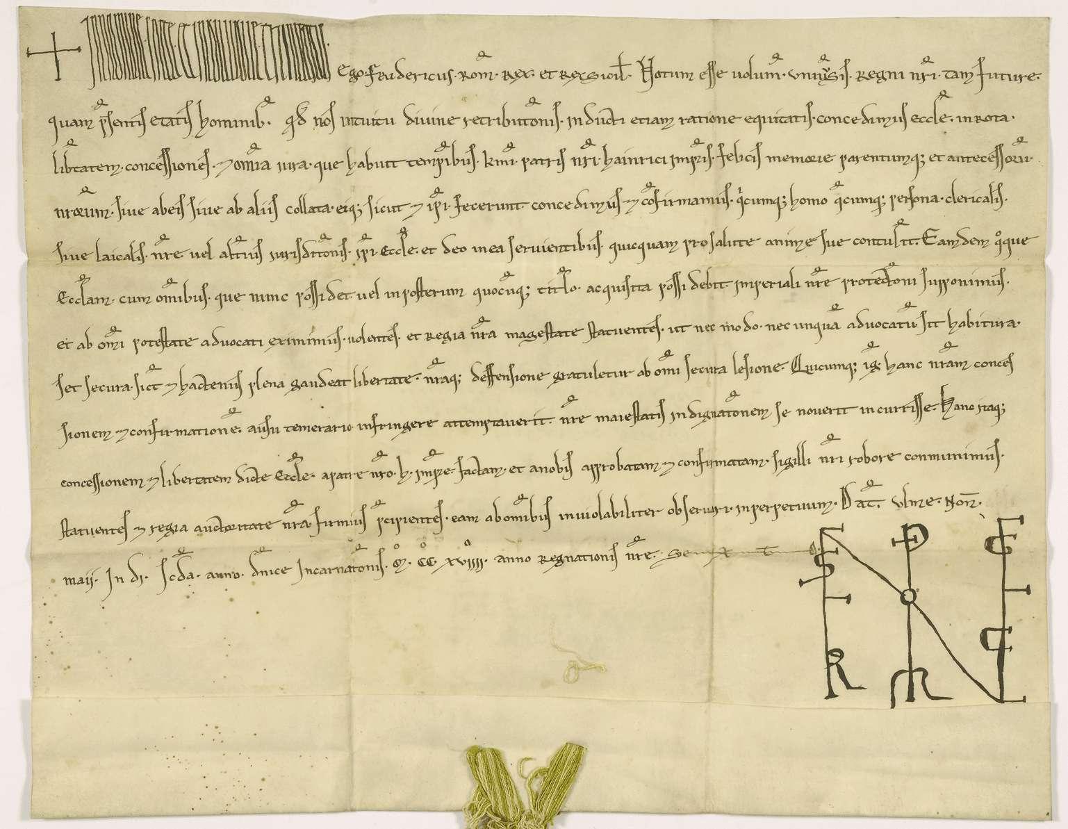 König Friedrich (II.) bestätigt dem Kloster Rot alle von seinen Vorfahren gemachten Zugeständnisse, namentlich das Recht, fromme Stiftungen anzunehmen, und stellt es unter seinen und des Reiches unmittelbaren und ausschließlichen Schutz., Bild 1