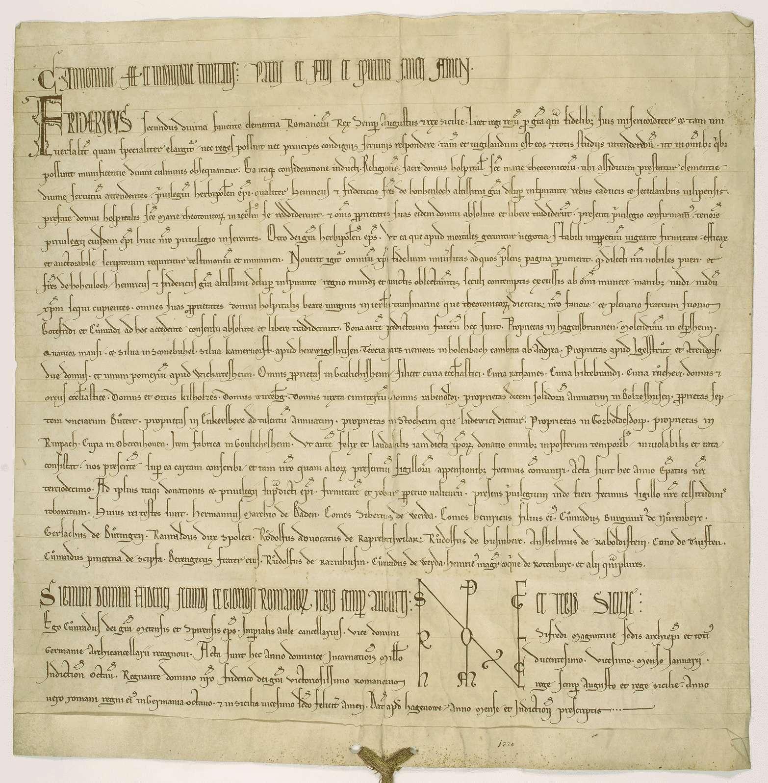 König Friedrich II. bestätigt die von dem Bischof von Würzburg beurkundete Güterschenkung der Brüder Heinrich und Friedrich von Hohenlohe an das Hospital zur heiligen Maria der Deutschen in Jerusalem., Bild 1