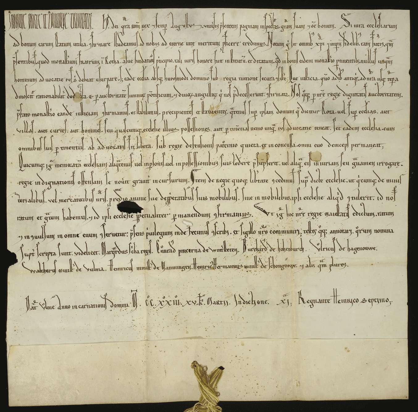 König Heinrich (VII.) nimmt das Kloster Rot in seinen unmittelbaren und ausschließlichen Schutz und genehmigt im Voraus was seine Dienstleute und Kaufleute an beweglichem und unbeweglichem Gute dahin stiften., Bild 1