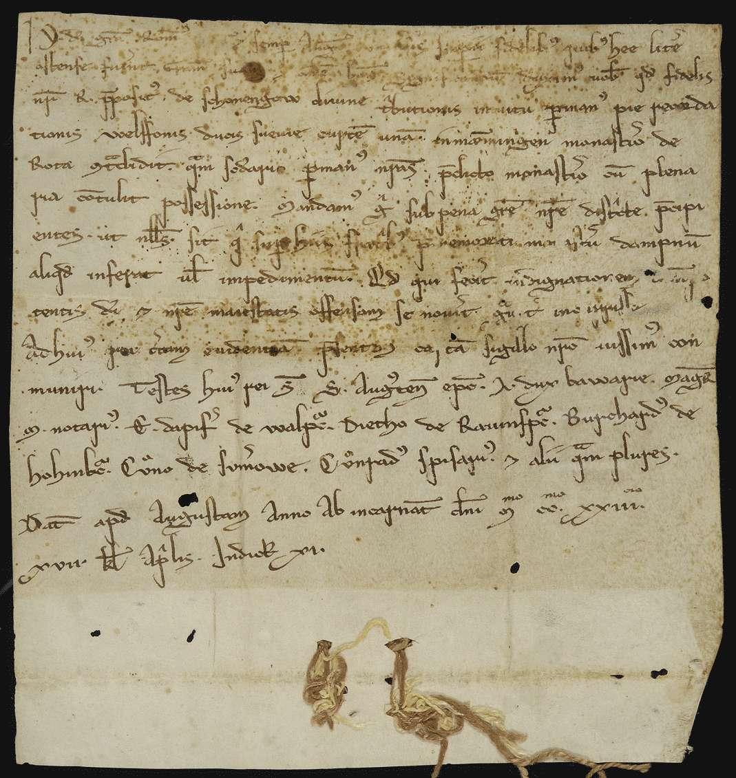 König Heinrich (VII.) beurkundet die vom Propst R. von Schongau durch die Hand des Herzogs Welf und die seinige erfolgte Schenkung eines Hofes in Memmingen an das Kloster Rot., Bild 1