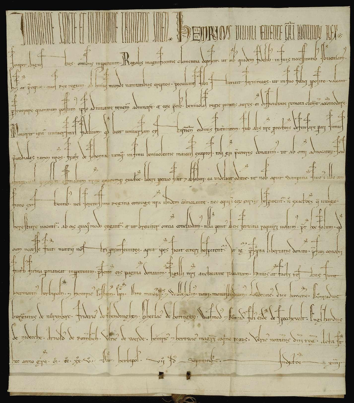 König Heinrich VII. befreit das Kloster Schöntal von allen ihm und seinen Beamten schuldigen Diensten und Abgaben mit Ausnahme der Verpflichtung, seine durchreisenden Boten zu beherbergen., Bild 1