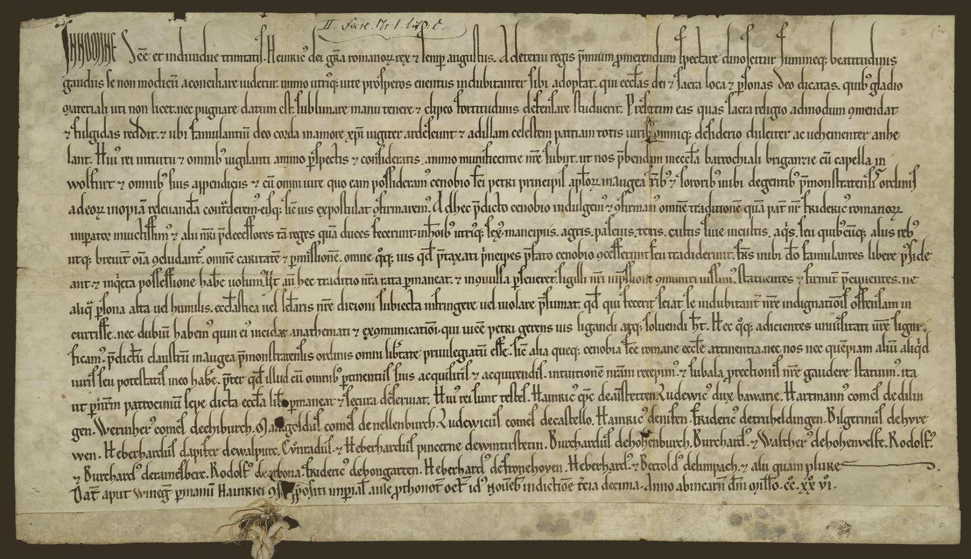 König Heinrich (VII.) übergibt und bestätigt den Brüdern und Schwestern des Klosters Weißenau die Pfründe in der Pfarrkirche zu Bregenz und der Kapelle in Wolfurt und verordnet, dass sich das Kloster aller Vorrechte der Prämonstratenser unter ausschließlichem und unentgeltlichem königlichem Schutz erfreue., Bild 1