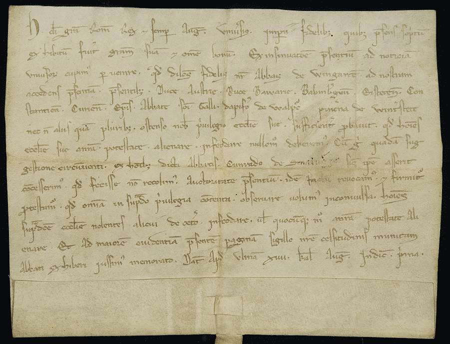 König Heinrich (VII.) widerruft die von ihm gegen bestehende ausdrücklich verbriefte Rechte geschehene Überlassung einiger Eigenleute des Klosters Weingarten an Konrad von Schmalegg., Bild 1