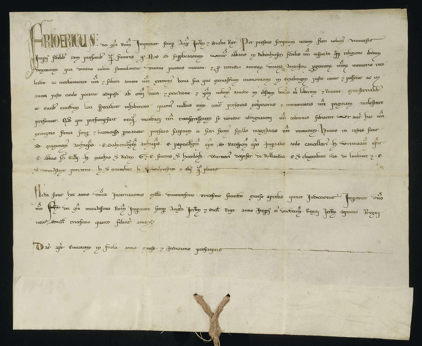 Kaiser Friedrich II. befreit die jetzt und künftig dem Kloster Bebenhausen in Esslingen gehörigen Güter von allen Abgaben und verbietet seinen Dienstleuten und den dortigen Bürgern, solche von ihnen zu fordern., Bild 1
