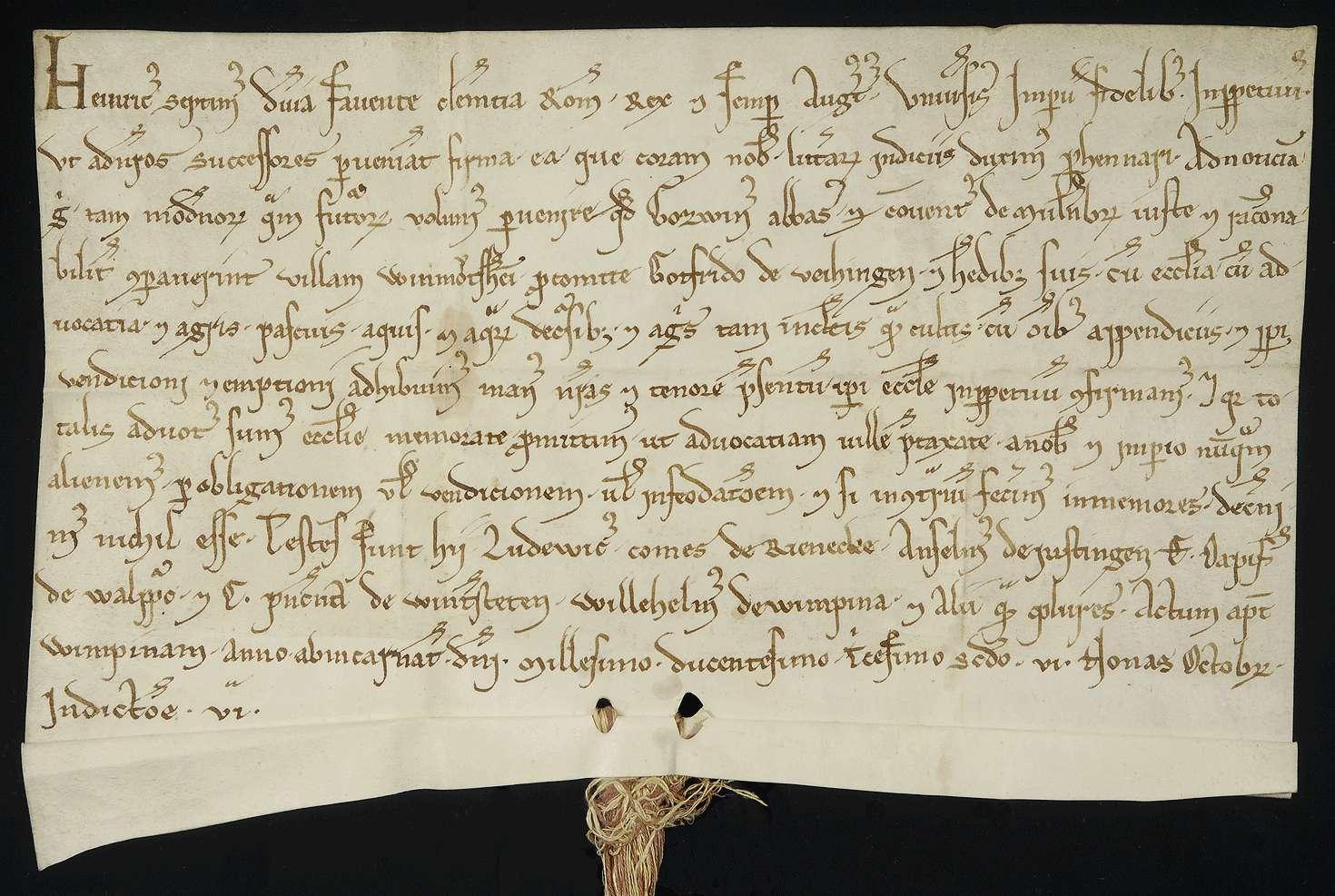 König Heinrich (VII.) bestätigt den Ankauf des Ortes Wimsheim durch das Kloster Maulbronn von dem Grafen Gottfried von Vaihingen und verspricht die Reichsvogtei über diesen Ort niemals irgendwie zu veräußern., Bild 1