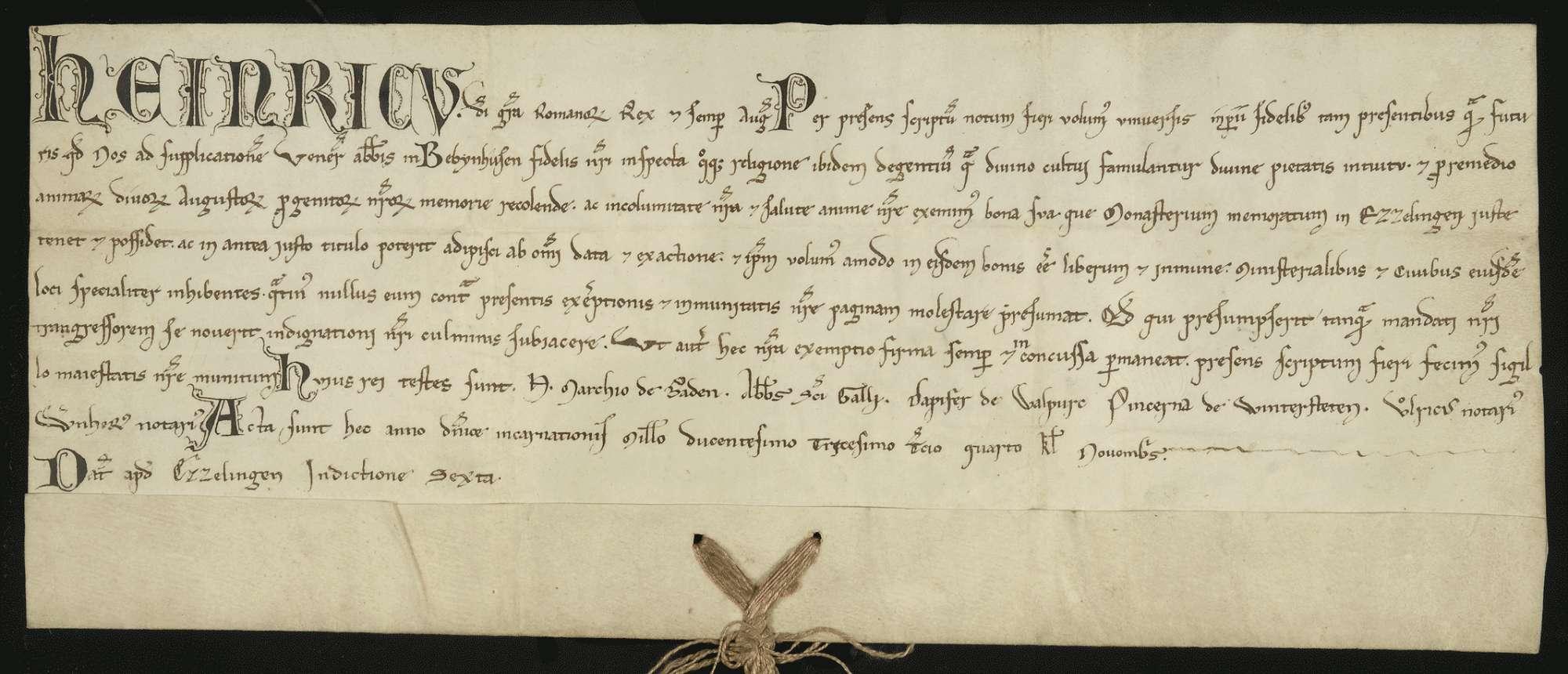 König Heinrich (VII.) befreit die Güter, welche das Kloster Bebenhausen in Esslingen besitzt oder besitzen wird, von allen Abgaben und verbietet seinen dortigen Dienstleuten und Bürgern, dieselben damit zu beschweren., Bild 1