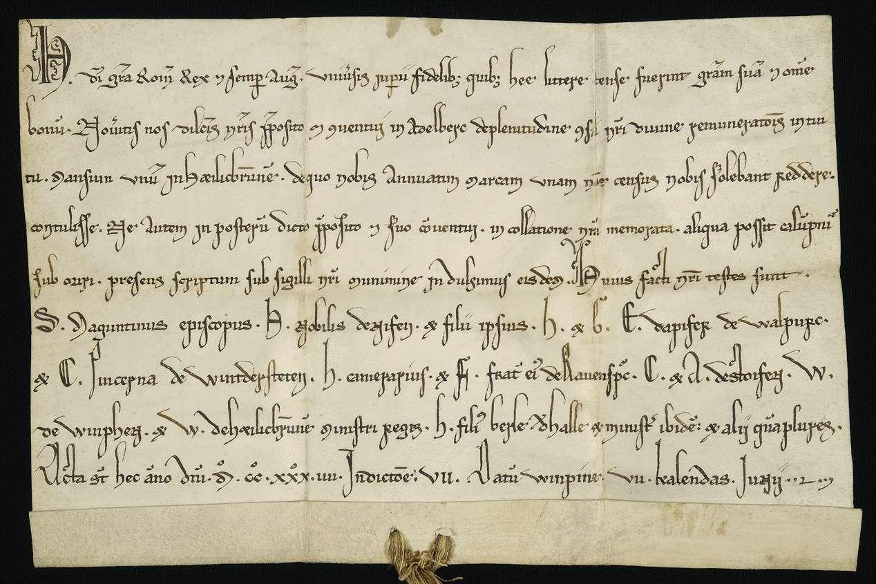 König Heinrich (VII.) überlässt dem Propst und Konvent in Adelberg einen mansus in Heilbronn gegen jährliche Zinszahlungen in Höhe von einer Mark., Bild 1
