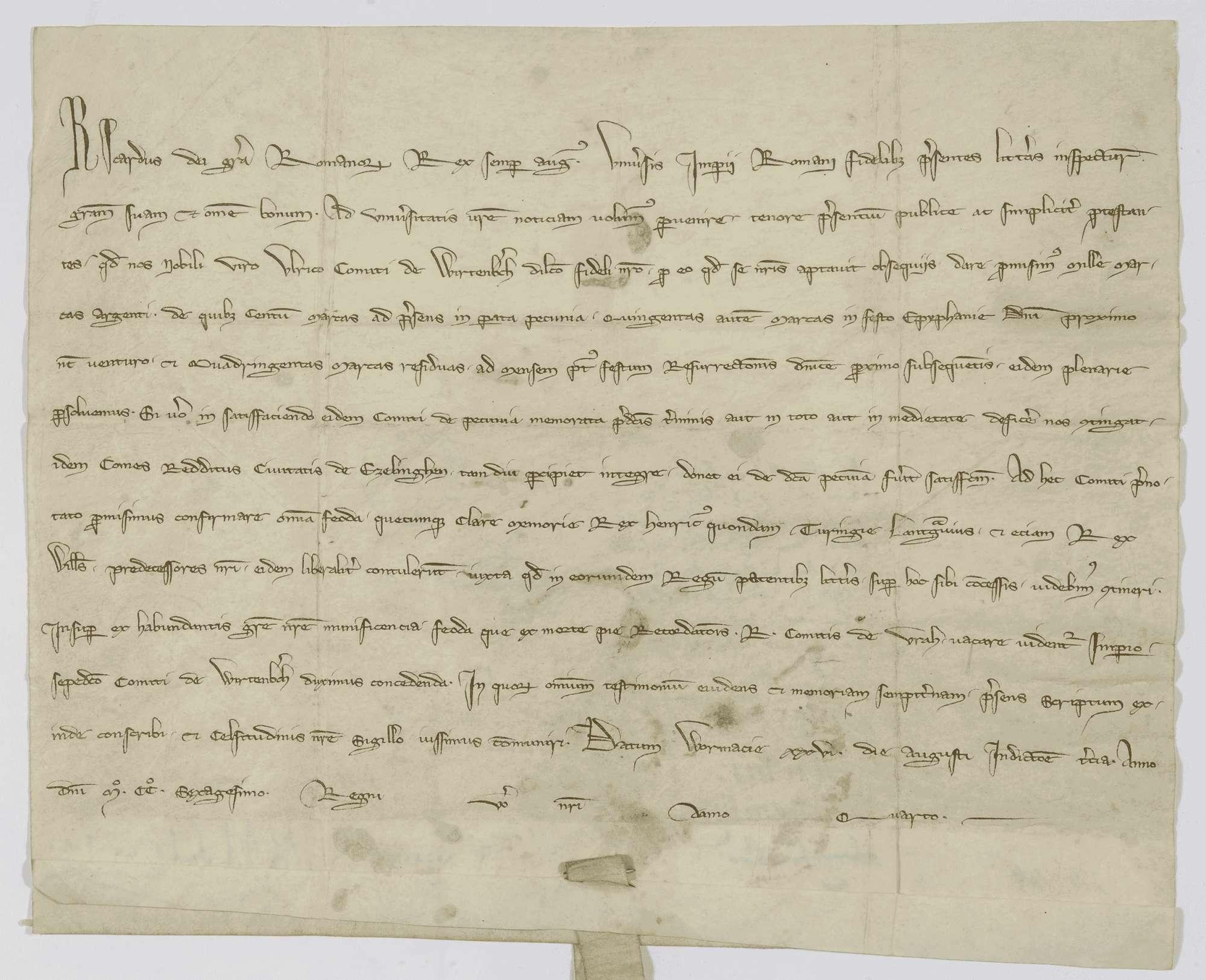König Richard verspricht dem Grafen Ulrich von Württemberg dafür, dass er sein Anhänger geworden ist, tausend Mark Silber zu bezahlen sowie die ihm einst von den Königen Heinrich, dem Landgrafen von Thüringen, und Wilhelm verliehenen Lehen zu bestätigen, und überträgt demselben zugleich die durch den Tod des Grafen Rudolf von Urach dem Reich heimgefallenen Lehen., Bild 3