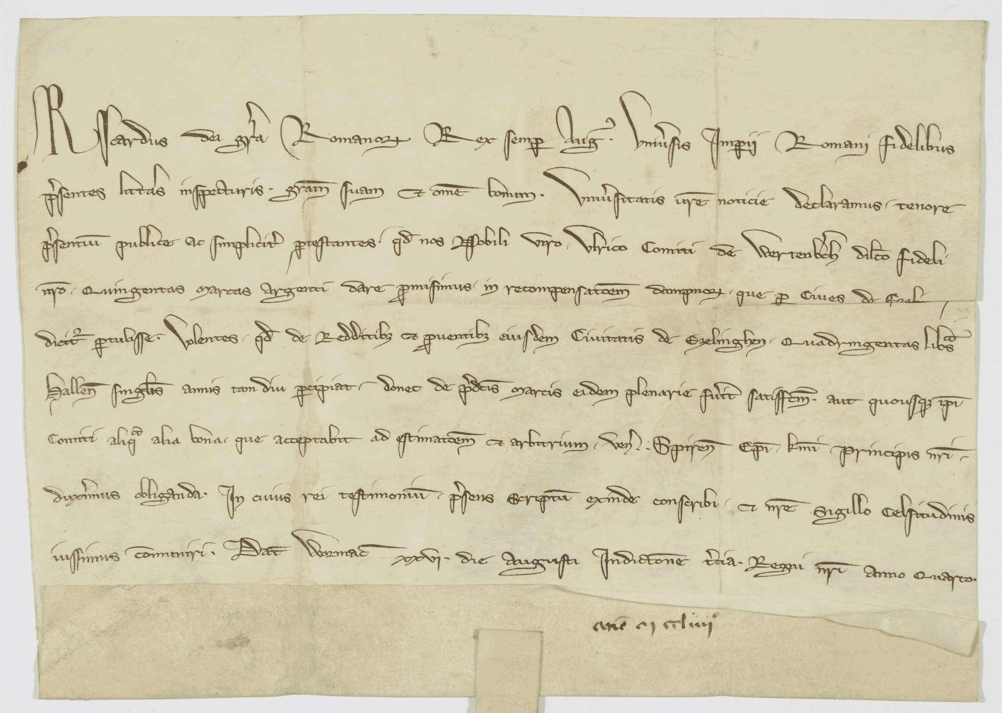 König Richard verspricht dem Grafen Ulrich von Württemberg 500 Mark Silber als Ersatz des ihm von den Esslingern zugefügten Schadens., Bild 1