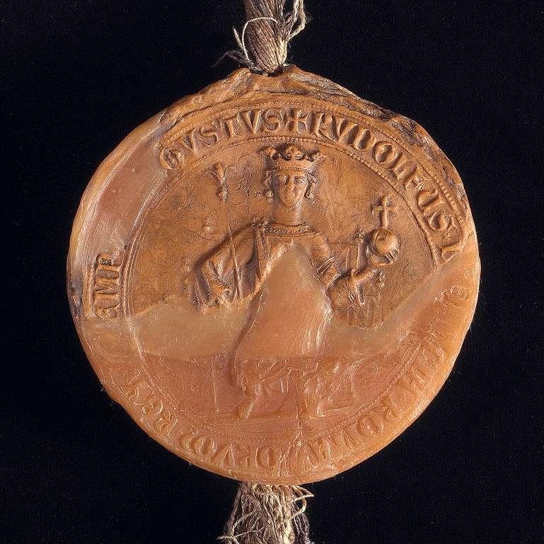 König Rudolf erneuert dem Kloster Comburg das in der Urkunde inserierte Privilegium König Konrads III. von 1138 August 13, wodurch der König das Kloster in seinen Schutz nimmt und von der Amtsgewalt der Grafen und ihrer Stellvertreter befreit., Bild 3