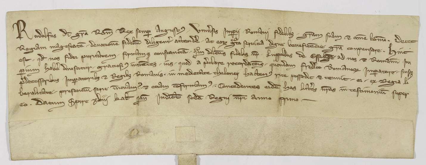 König Rudolf bestätigt dem Lupold von Esslingen die Hälfte des Esslinger Zolls, die er kraft der Verleihungen von Kaiser Friedrich und seinen Vorgängern seither besaß., Bild 1