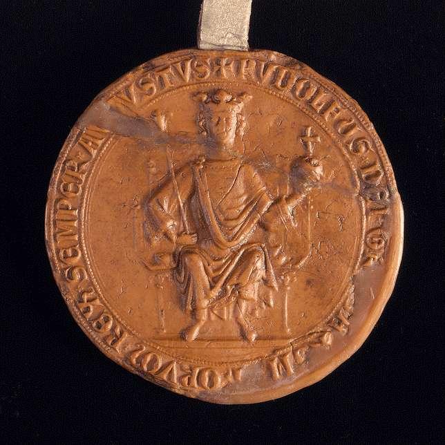 König Rudolf bestätigt dem Lupold von Esslingen die Hälfte des Esslinger Zolls, die er kraft der Verleihungen von Kaiser Friedrich und seinen Vorgängern seither besaß., Bild 3