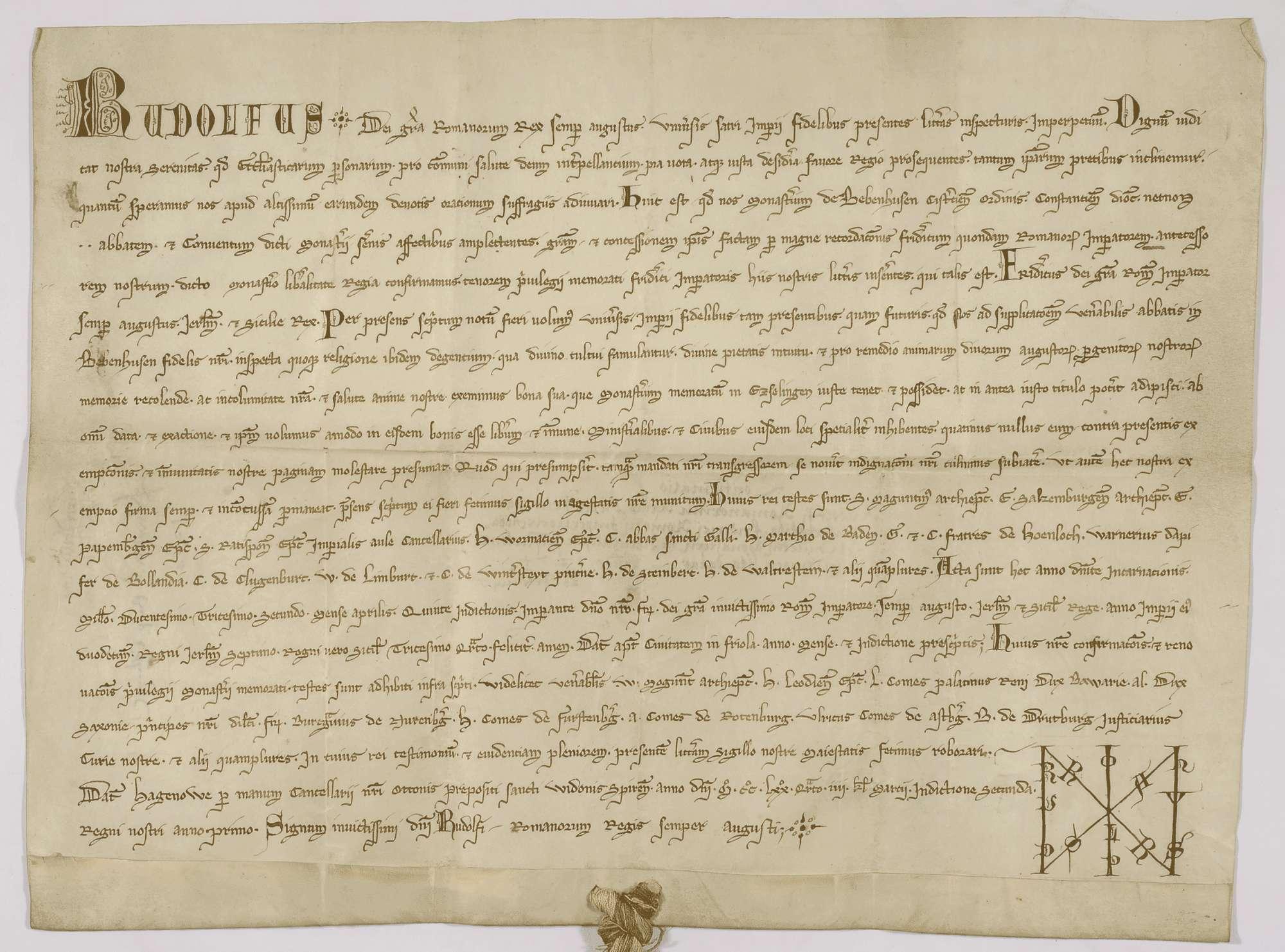 König Rudolf bestätigt und erneuert dem Kloster Bebenhausen das in der Urkunde inserierte Privilegium Kaiser Friedrichs II. von 1232 April., Bild 1