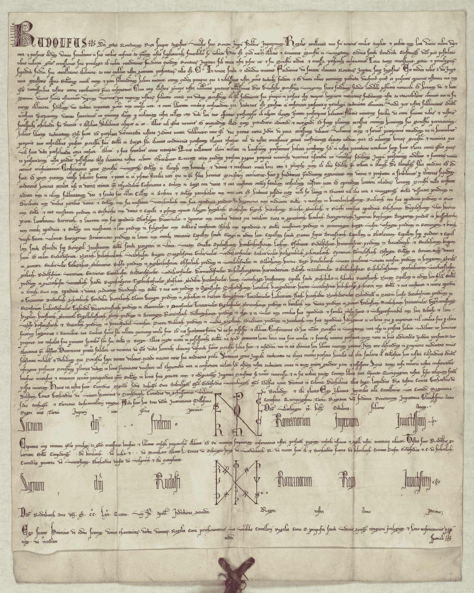 König Rudolf vidimiert und bestätigt dem Kloster Weingarten den falschen Schirmbrief Kaiser Friedrichs I. von 1153 September 23 in der 1. Fassung (Urkunde Nr. 350 in WUB, Bd. II, S. 83–94, Text A)., Bild 1