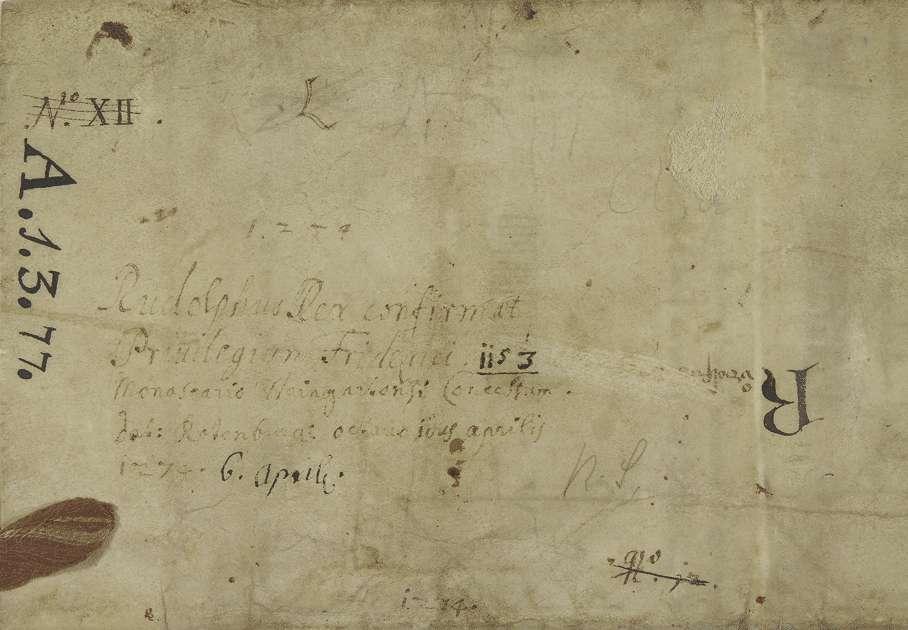König Rudolf vidimiert und bestätigt dem Kloster Weingarten den falschen Schirmbrief Kaiser Friedrichs I. von 1153 September 23 in der 1. Fassung (Urkunde Nr. 350 in WUB, Bd. II, S. 83–94, Text A)., Bild 2