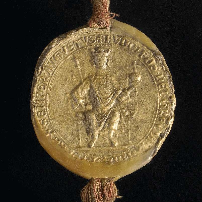 König Rudolf vidimiert und bestätigt dem Kloster Weingarten den falschen Schirmbrief Kaiser Friedrichs I. von 1153 September 23 in der 1. Fassung (Urkunde Nr. 350 in WUB, Bd. II, S. 83–94, Text A)., Bild 3