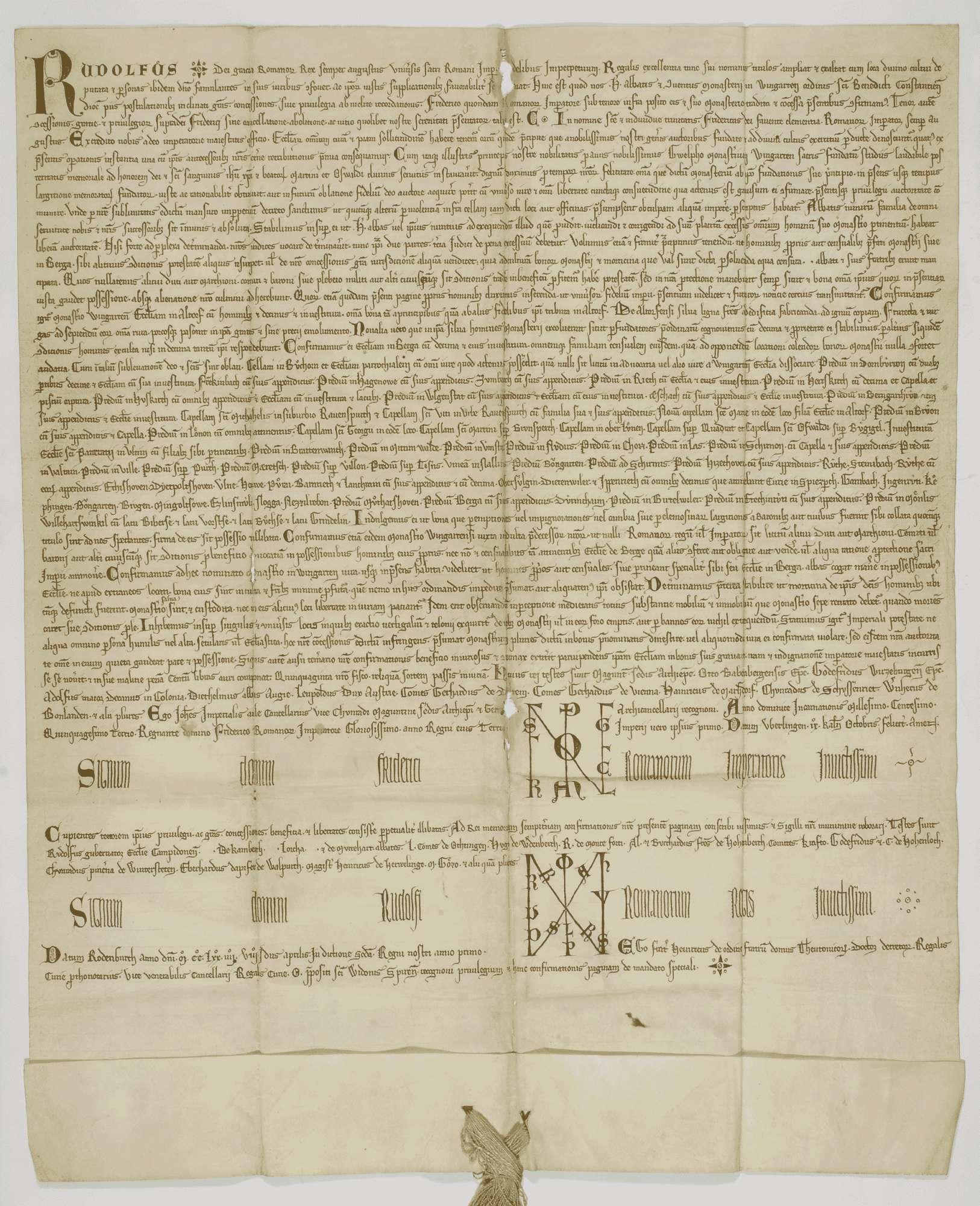 König Rudolf vidimiert und bestätigt dem Kloster Weingarten den falschen Schirmbrief Kaiser Friedrichs I. von 1153 September 23 in der 2. Fassung (Urkunde Nr. 350 in WUB, Bd. II, S. 83–94, Text B)., Bild 1