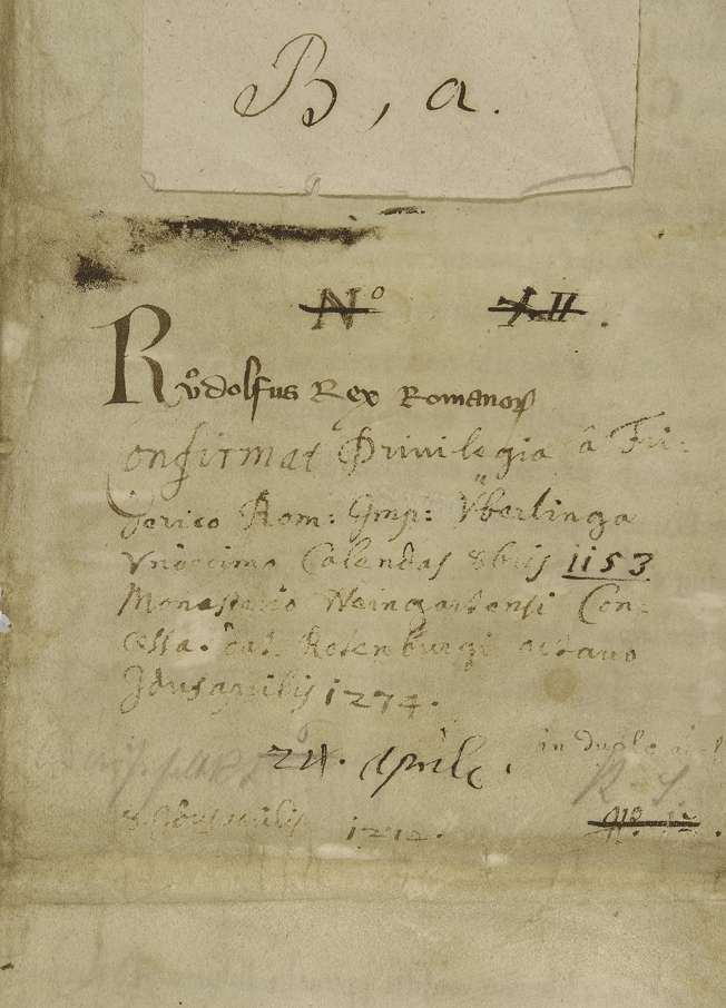 König Rudolf vidimiert und bestätigt dem Kloster Weingarten den falschen Schirmbrief Kaiser Friedrichs I. von 1153 September 23 in der 2. Fassung (Urkunde Nr. 350 in WUB, Bd. II, S. 83–94, Text B)., Bild 2