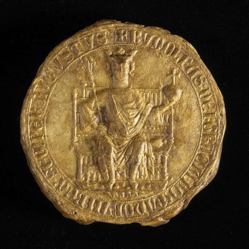 König Rudolf vidimiert und bestätigt dem Kloster Weingarten den falschen Schirmbrief Kaiser Friedrichs I. von 1153 September 23 in der 2. Fassung (Urkunde Nr. 350 in WUB, Bd. II, S. 83–94, Text B)., Bild 3
