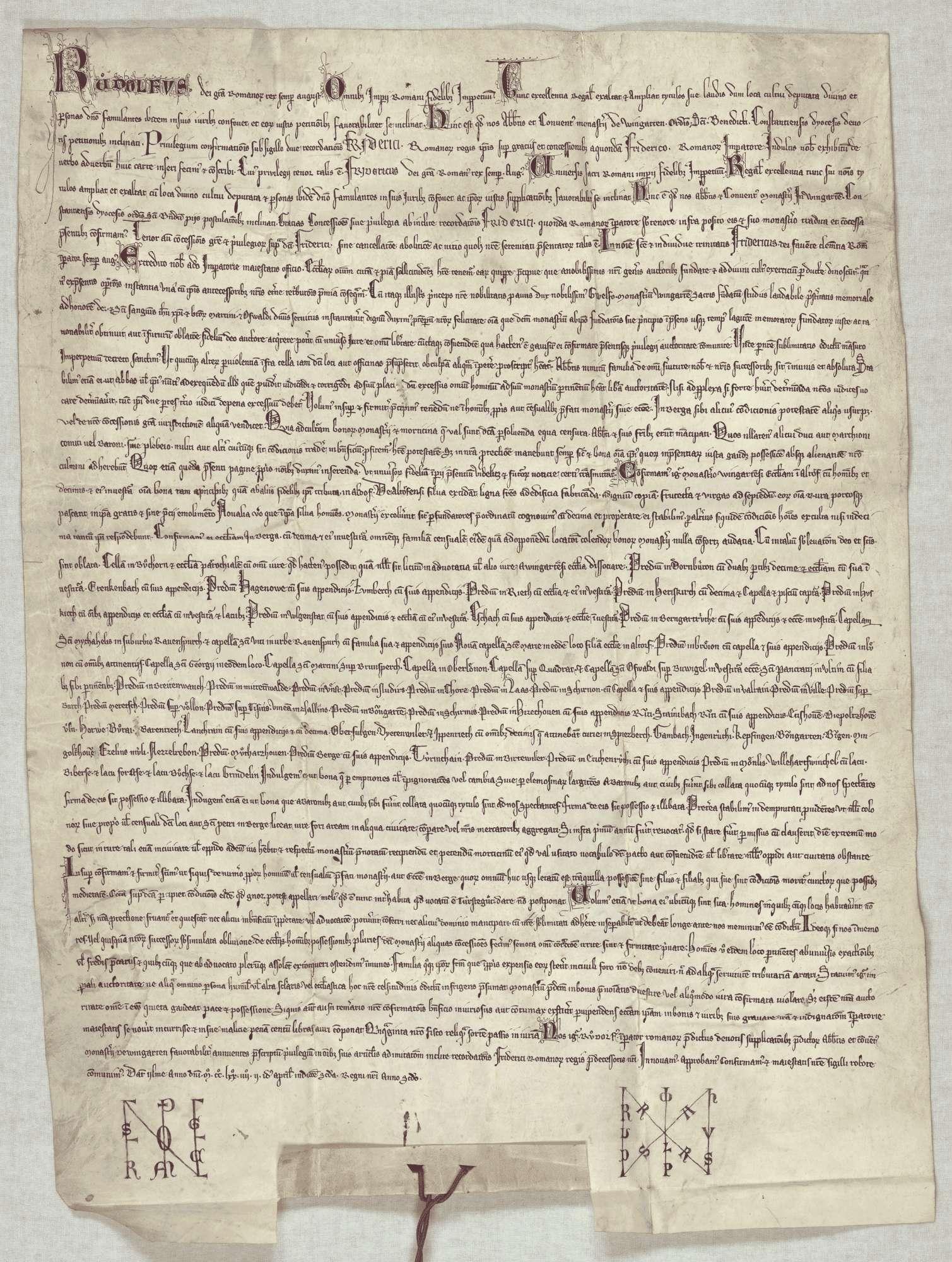 König Rudolf vidimiert und bestätigt dem Kloster Weingarten den falschen Schirmbrief Kaiser Friedrichs I. von 1153 September 23 in der 3. Fassung (Urkunde Nr. 350 in WUB, Bd. II, S. 83–94, Text C)., Bild 1