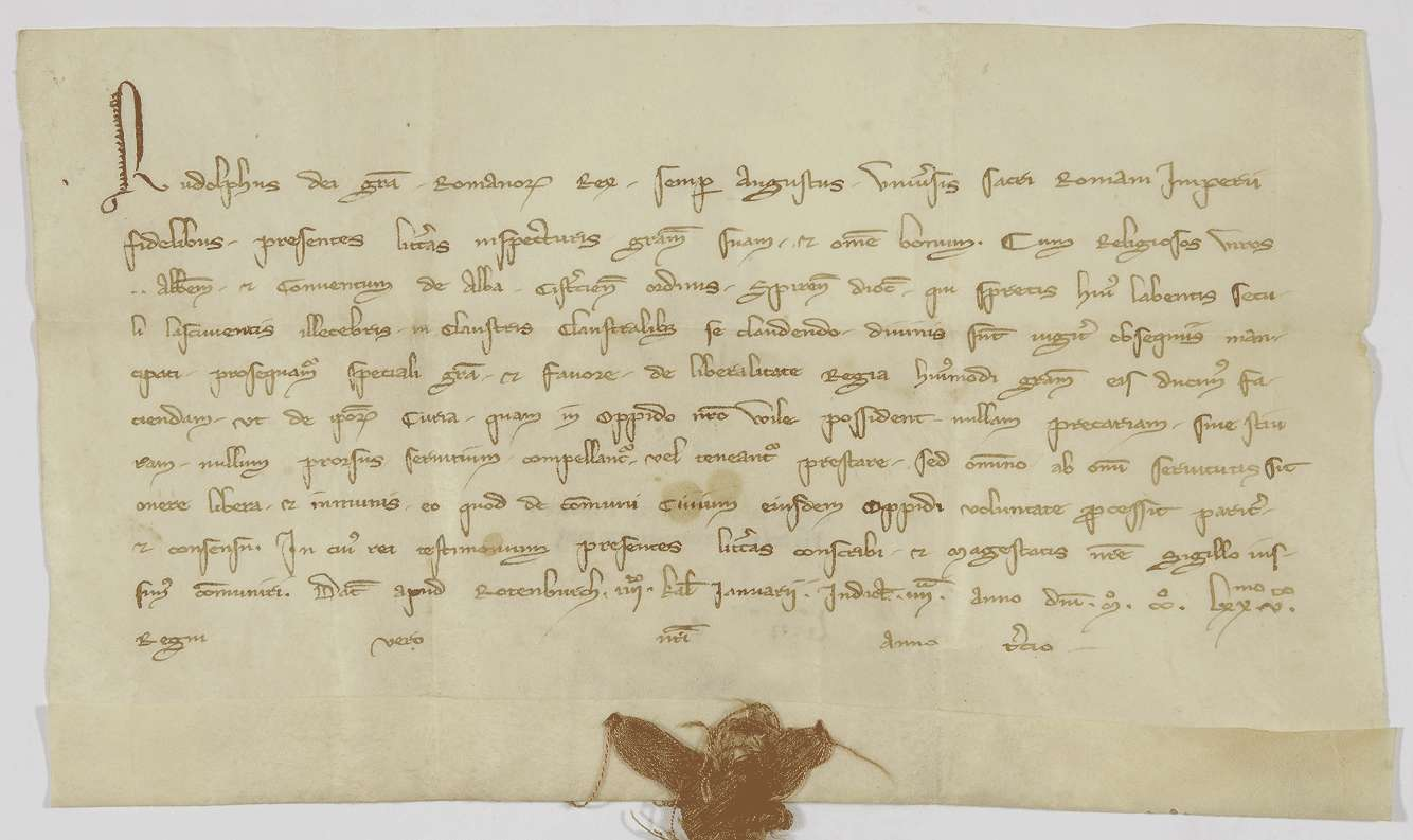 König Rudolf befreit den Hof des Klosters Herrenalb in seiner Stadt Weil von Bede, Steuer und allen Diensten., Bild 1