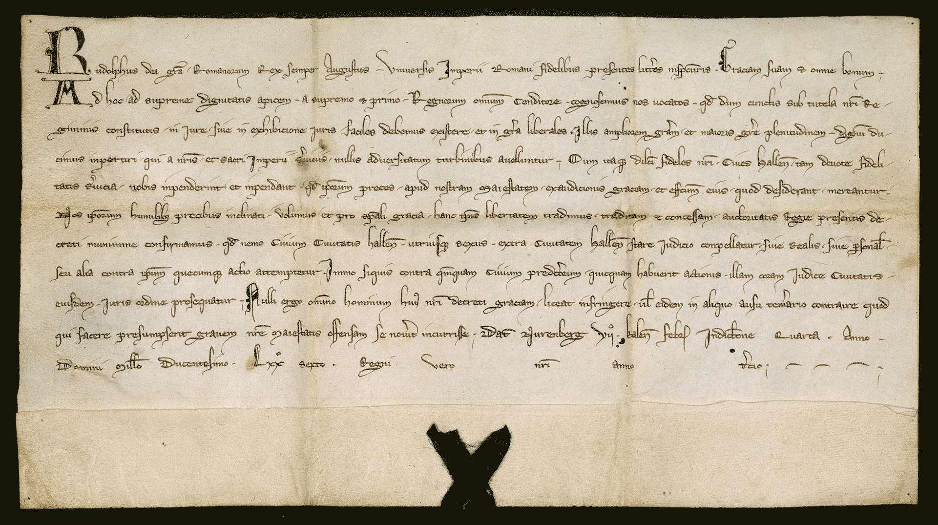 König Rudolf verleiht der Stadt Hall aus besonderer Gnade das Privilegium de non evocando., Bild 1