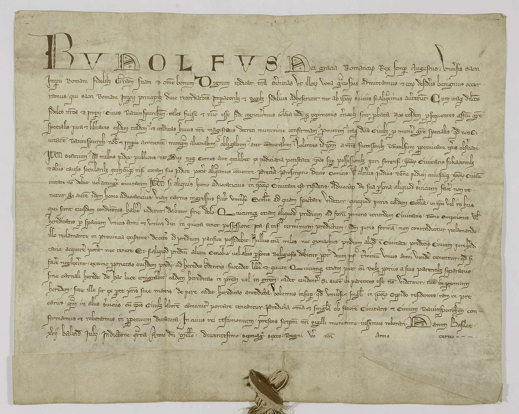 König Rudolf erteilt der Stadt Ravensburg verschiedene Rechte und Freiheiten., Bild 1