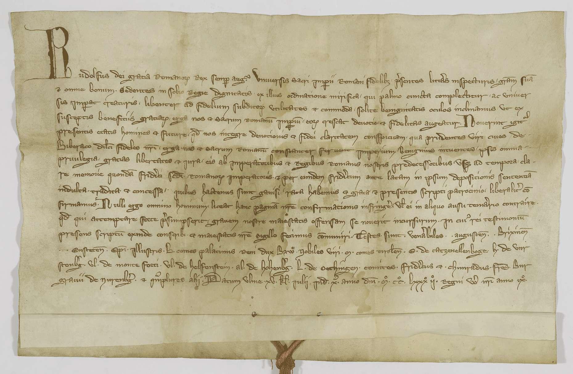 König Rudolf bestätigt der Stadt Biberach die ihr von seinen Vorgängern verliehenen Privilegien., Bild 1