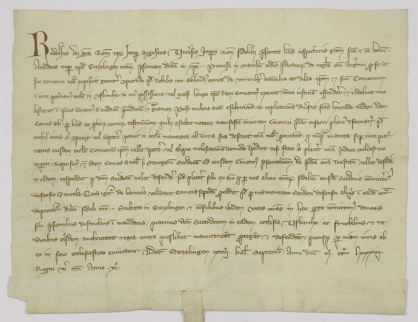 König Rudolf beurkundet die Erledigung der Klage des Klosters Steinheim wegen der Anfechtung des Patronatrechts in Uffkirch durch Graf Eberhard von Württemberg., Bild 1