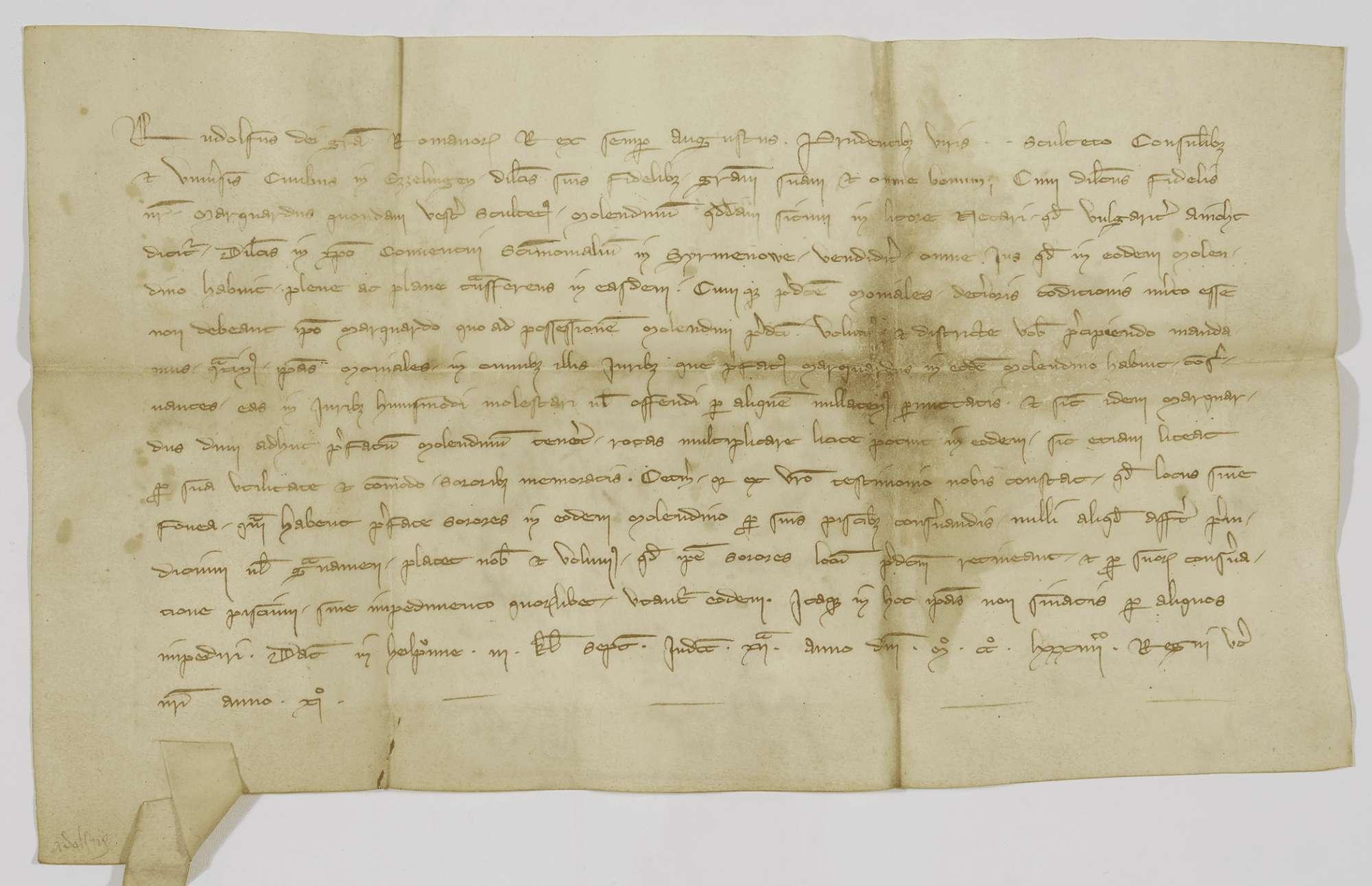König Rudolf befiehlt der Stadt Esslingen, das Kloster Sirnau im Besitz der Einödmühle am Neckar zu schützen., Bild 1
