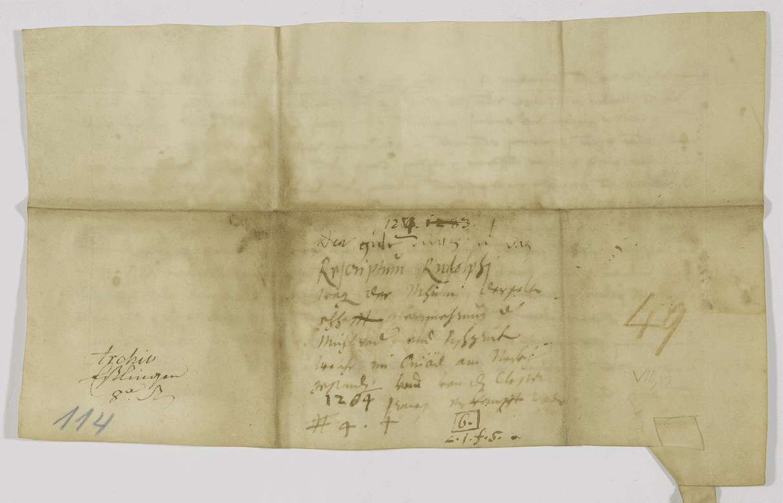 König Rudolf befiehlt der Stadt Esslingen, das Kloster Sirnau im Besitz der Einödmühle am Neckar zu schützen., Bild 2