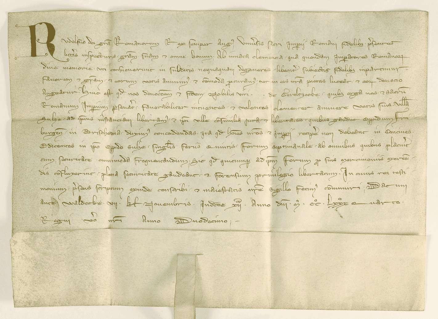 König Rudolf erhebt Sulz zur Stadt und verleiht ihm die Freiheiten von Freiburg und das Recht eines Wochenmarktes., Bild 1