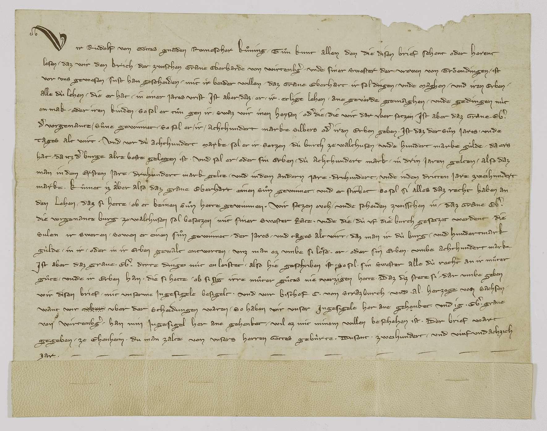 König Rudolf schlichtet den Streit zwischen Graf Eberhard von Württemberg und dessen Schwester, der Frau von Truhendingen., Bild 1