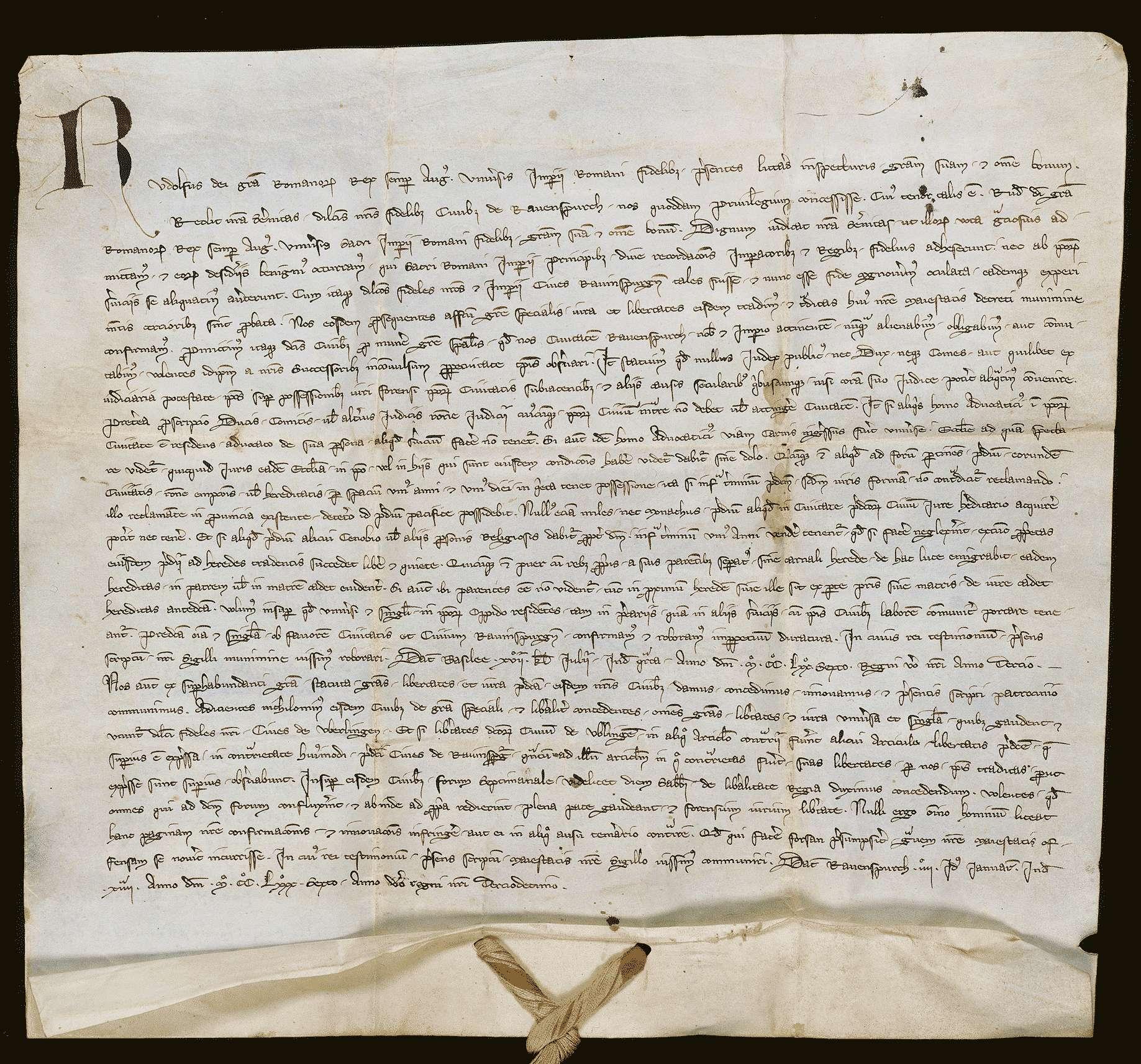König Rudolf erneuert der Stadt Ravensburg das vor 10 Jahren verliehene Stadtrecht und fügt die Verleihung der Freiheiten von Überlingen und eines Wochenmarkts hinzu., Bild 1