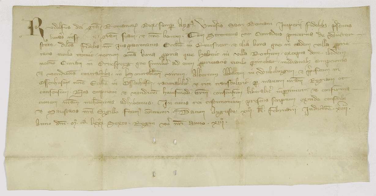 König Rudolf bestätigt den Verkauf des Patronatrechts in Ringschnait und von Gütern in Rottum und Ehrensberg an Kloster Ochsenhausen., Bild 1